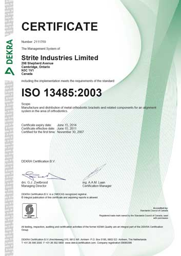 Canadian Medical Devices Conformity Assessment System (CMDCAS) Certificate